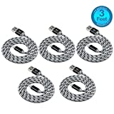Flebi Lightning to USB Cable Nylon Braided Charging Cord Apple Charger for iPhone iPad iPod - 3 Feet ( 5 Pack )