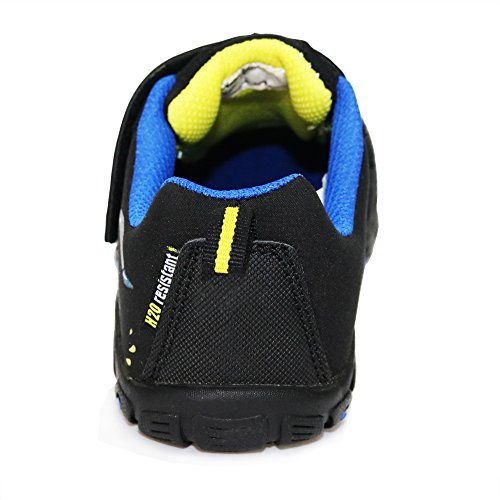 Pictures of GRITION Mid Kids School Shoes, Dinosaur Riding Bike Cartoon Sneakers for Boys Girls Easy Hook and Loop Walking Running Water Resistant Shoes Black Gray Unisex Child (3 M Little Kid/EU 35, Black) 4