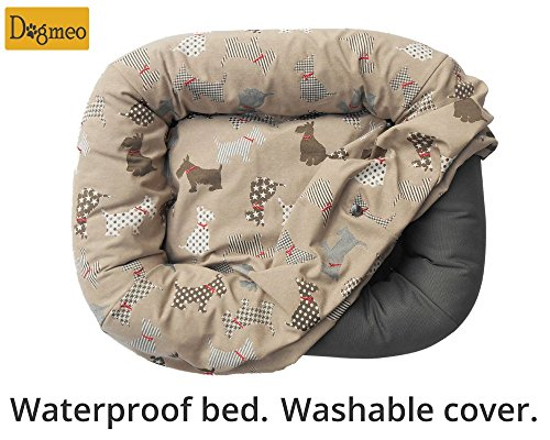 Waterproof designer Dogmeo dog bed. Washable cover. L size. by Dogmeo