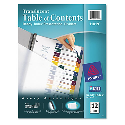 - Avery Ready Index Translucent Table of Contents Dividers, 12-Tab Set (11819)