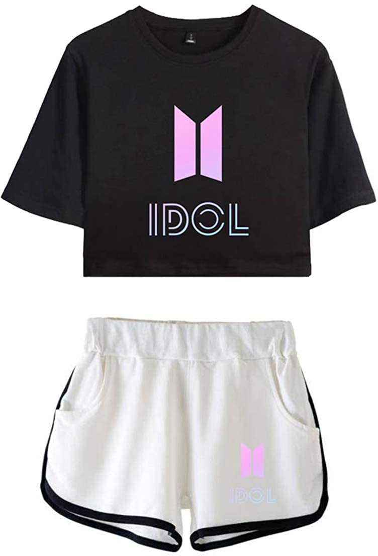 OLIPHEE Tute Ragazze Suits Sportive in Ginnastica BTS Tear con Stampa di Idol Bangtan Boys per Bambine e Ragazze