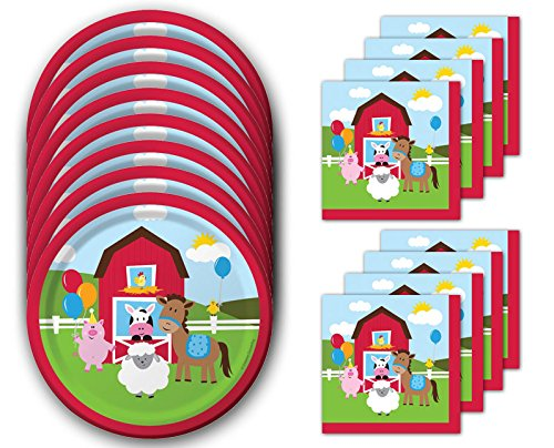 Creative Converting Farmhouse Fun Dessert Napkins & Plates Party Kit for 8 -