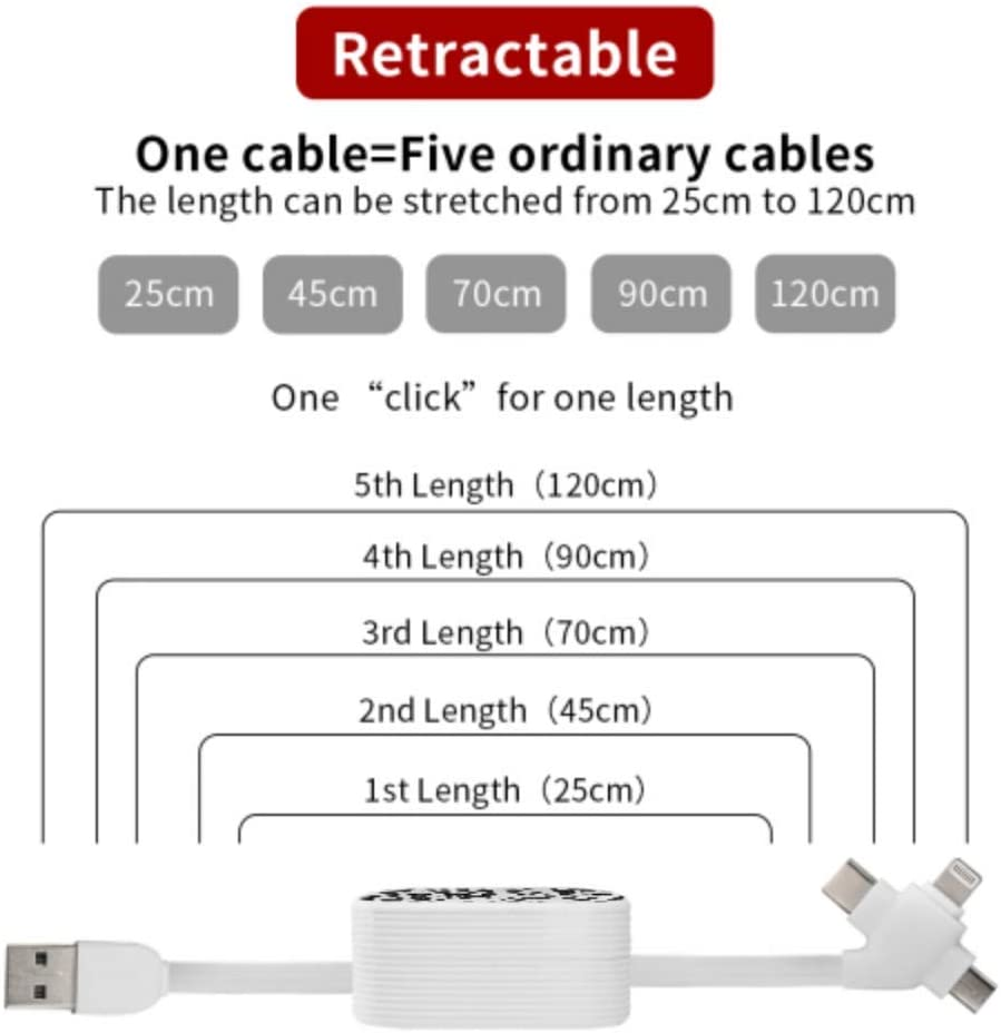 USB Charger Cable Leopard Multi 3 in 1 Retractable USB C Charger Cable with Micro USB//Type C Compatible with Cell Phones Tablets and More