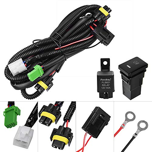 (HUIQIAODS H11 H9 880 881Fog Light Wiring Harness Socket Wire Connector with 40A Relay ON/OFF Switch Kits for Toyota GM Hyundai Accent Elantra Peugeot LED Work Lamp Driving Lights Etc )