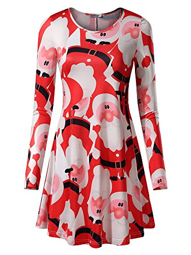 MSBASIC Women's Long Sleeves Christmas Dress Xmas Gifts Print Flared A Line Midi Dress Small White Santa Claus]()