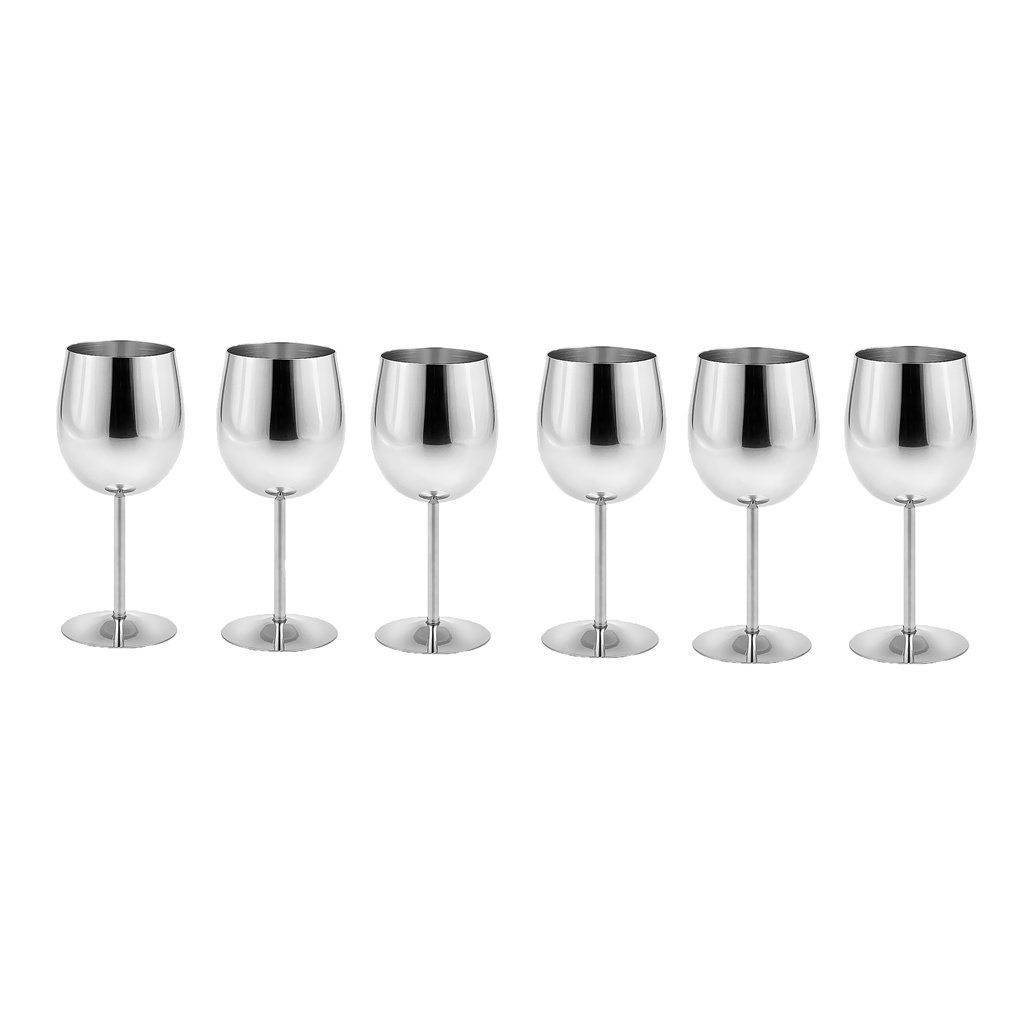 King International Stainless Steel Wine Glass Champagne Goblet Cup Drinking Mug SET OF 6 PIECES Elegant Wine Glasses Made of Dishwasher Safe Unbreakable BPA Free Shatterproof SS Great for Daily by King International