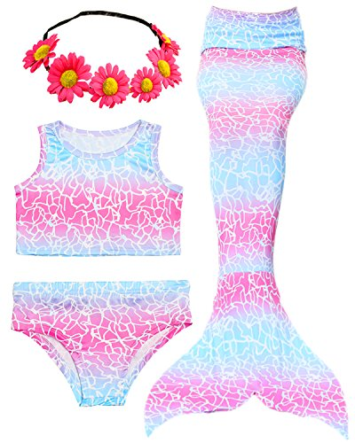 3 Pcs Girls Swimsuit Mermaid Tails for Swimming Princess Bikini Bathing Suit Set Can Add Monofin for 3-12Y (Height 42-44in(3-4Y), B-Light Blue Pink)