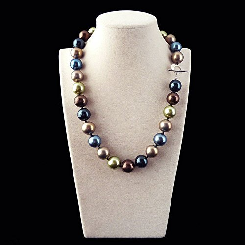 Rare Huge 12mm Genuine Multicolor Round South Sea Shell Pearl Necklace 18''AAA+ ()