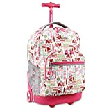 Kids Pink Hearts Graphic Theme Rolling Backpack, Beautiful All Over Girly Fun Geometric Print Suitcase, Girls School Bag, Duffel with Wheels, Wheeling Luggage, Lightweight Softsided, Fashionable