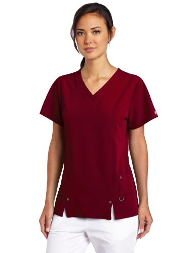 Dickies Women's Xtreme Stretch V-Neck Scrubs Shirt, D-Wine, Large