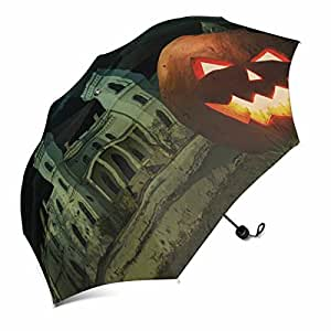 InterestPrint Bright Carved Orange Pumpkin on Halloween Against Scary Old Castle in the Moonlight Foldable Portable Outdoor Travel Compact Waterproof Umbrella