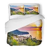 SanChic Duvet Cover Set Beautiful Sunset at The Coast Majorca Spain Island Quaint Village Seaside Deia Mediterranean Sea Decorative Bedding Set 2 Pillow Shams King Size