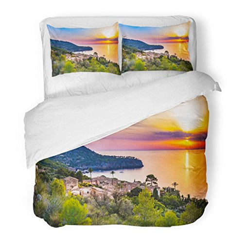 SanChic Duvet Cover Set Beautiful Sunset at The Coast Majorca Spain Island Quaint Village Seaside Deia Mediterranean Sea Decorative Bedding Set 2 Pillow Shams King Size by SanChic