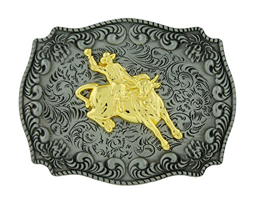 RIDE AWAY Rodeo Bull Rider Western Style Gold Color Antique Silver Belt (Bull Rider Buckle)