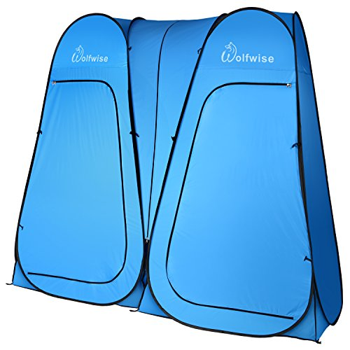 WolfWise Two Room Pop Up Shower Privacy Tent Dressing Room Sun Shelter for Outdoor Camp Toilet Camping Biking Fishing