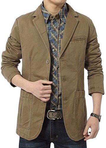 chouyatou Men's Classic Notched Collar 3 Button Lightweight Cotton Suit Jackets (Medium, Khaki)