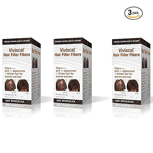 Price comparison product image Viviscal Hair Filler Fibers, For Men & Women, Dark Brown/Black, 0.5 Ounces each, Pack of 3