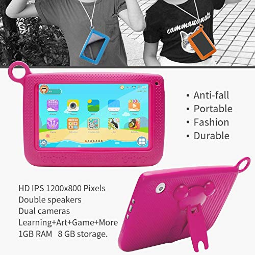 """Aobiny Children's Tablet,Newest 7""""INCH Kids Android 4.4 Tablet PC Camera Quad CORE HD WiFi, for Children (Hot Pink) by Aobiny (Image #3)"""