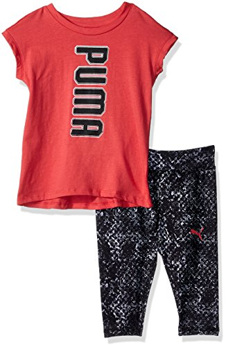 (PUMA Baby Girls 2 Piece Tee and Capri Set,PARADISE PINK,24M)