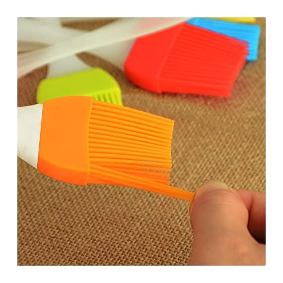 kingleder Assorted Color Silicone Basting Brush for Desserts Baking Barbecue Pastry BBQ(Set of 6) 7 Made of FDA Flexible Silicone with a steel core inside and BPA free, 100% food-grade silicone Comes in 6 Assorted colors Baking brushes, Blue/Green/Orange/Pink/Red/Yellow Easy to clean, silicone design, easy to wash with hands, flush with soapy warm water to get the oily stuff down, and then hang it to air dry