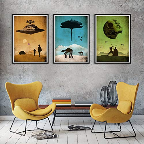 Star Wars Trilogy Episode 4-5-6 Minimalist Movie Artwork Set, A New Hope, The Empire Strikes Back, Return of the Jedi, A3 Print (11.7x16,5 inches) or A3+ Print (13x19 inches)