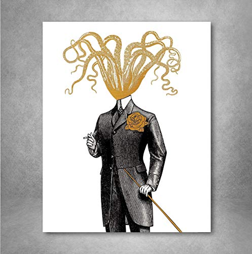 Gold Foil Art Print - Gentleman Octopus With Gold Foil Rose and Cane 8x10 inches