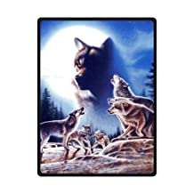 """Blanket Sumptuously Wolf Under The Moon Light Print Blankets / Reversible 58"""" x 80"""" (Large)"""