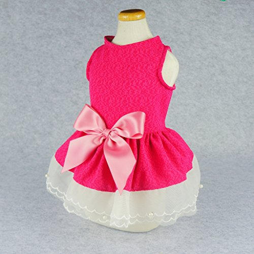 Fitwarm Sweetie Pink Lace Pet Dog Dress Vest Shirts Clothes - Pink - X-small