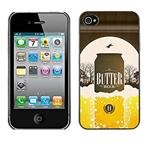 Shell-Star Arte & diseño plástico duro Fundas Cover Cubre Hard Case Cover para Apple iPhone 4 / iPhone 4S / 4S ( Beer Can Golden Bottle Poster Advert )