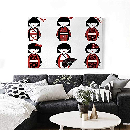 Girls Canvas Wall Art Unique Asian Geisha Dolls in Folkloric Costumes Outfits Hair Sticks Kimono Art Image Print Paintings for Home Wall Office Decor 32