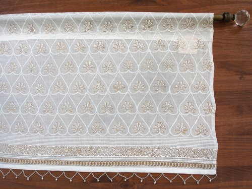 Saffron Marigold - Bridal Veil - White and Gold Hand Printed - Beaded Elegant Romantic Cotton Voile Window Valance Curtain - Rod Pocket - (46 x 17 inches)