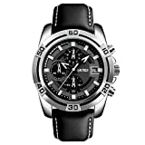 Sports Mens Watches,SKMEI Chronograph And Date Wristwatches For Men,30 Meters Waterproof Soft Black