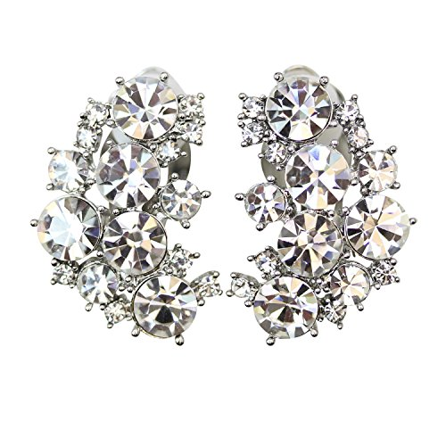 Faship Gorgeous Clear Crystal Clip Ons Earrings