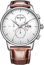 BUREI® Men's Wrist Watches with Day Date Chronograph Brown Leather Strap