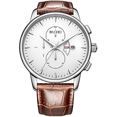 BUREI Men's Chronograph Wirst Watches Stainless Steel Multifunction Analog Quartz with Rose Gold Hand (white-brown)