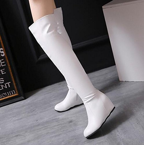 Round Zipper Warm Womens Wedge The Above White Toe Easemax Solid Knee High Heel Boots 4Xt5xq