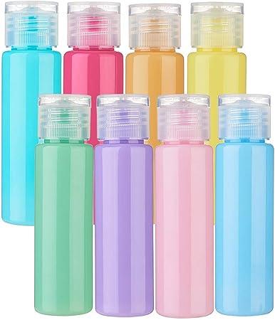 BENECREAT 16 Pack 30ml Botella Vacía de Viaje de Plástico para Champú Lociones Jabón líquido para el Cuerpo Cremas Contenedor Macarrón Color de Cosmético: Amazon.es: Hogar