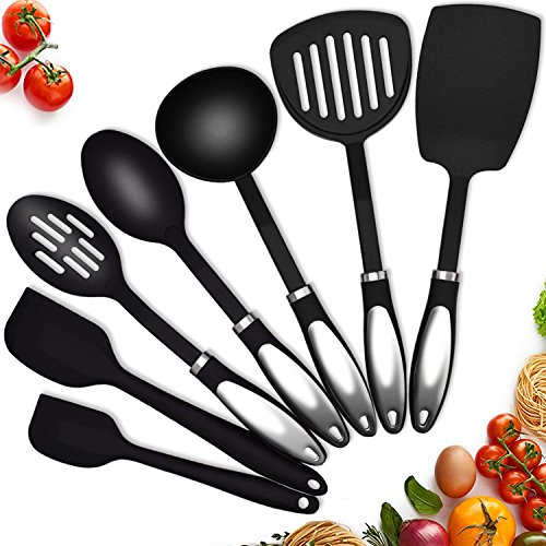 Kitchen Utensil Set 7-Piece Nylon Cooking Utensils for Nonstick Cookware with Stainless Steel Handle Silicone Spatula Set Heat Resistant Black Kitchen Tools & Gadgets Sets TWICHAN