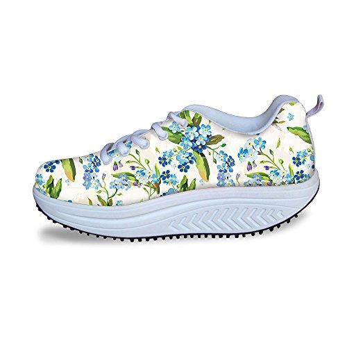 For U Design Vintage Floral Rose Print Fitness Walking Sneaker Uformelle Kvinners Kiler Platåsko Blå Hvit