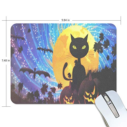 Mouse Pad Halloween Party with Cat Gaming Mousepad Cheap Small Thick Mouse Mat Black Inspiring Mouse Pads ()
