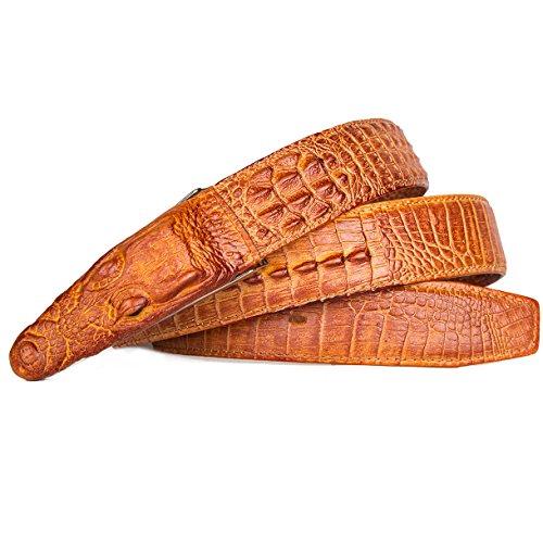 Men's Stylish Alligator Head Belt Crocodile Leather Embossed Strap Belt Men