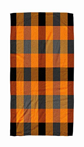 Asdecmoly Swimming Towel Cloth Quick-Drying Bath Towel 30X60 Inch Halloween Tartan Plaid Scottish Pattern in Orange Black Gray White Cage Traditional Outdoor Beach Towel Travel Camping Spa Blanket ()