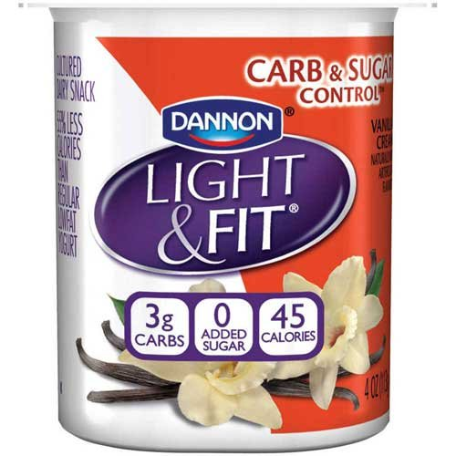 Light and Fit Vanilla Cream Carb and Sugar Control Not Fat Yogurt, 4 Ounce -- 24 per case.