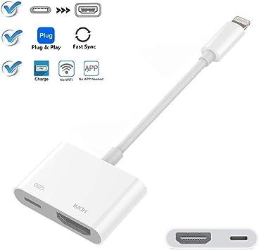 Cable Adaptador Compatible con iPad iPhone a HDMI, Adaptador ...
