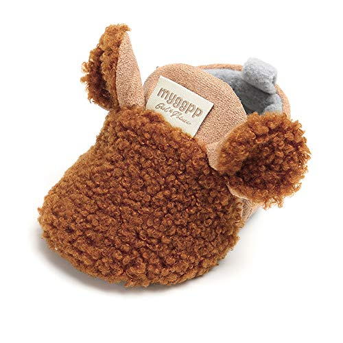 Sawimlgy Baby Boys Girls Adjustable Slippers Cartoon Moccasins Anti-Slip Soft Sole Warm Winter Crib Shoes