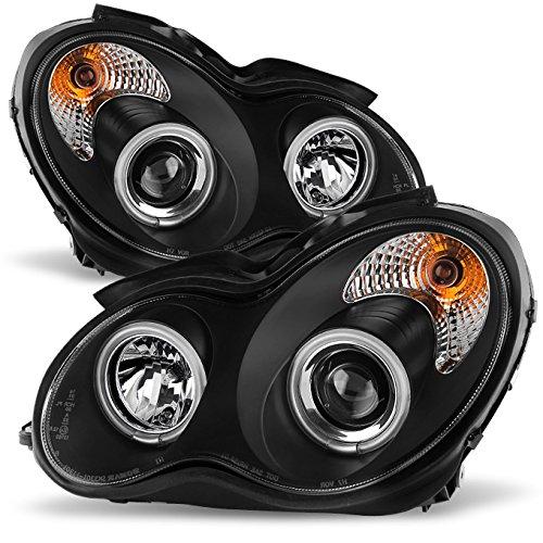[CCFL Halo] For 01-07 Benz W203 C-Class 4-Doors Sedan Black Bezel Projector Halogen Type Projector Headlights Left+Right ()