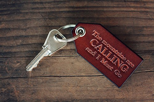 Custom Leather Luggage Tag, Custom Text Key Chain, Party Favor, Personalized Key chain, Leather Keyring, gift, The mountains are calling and I must go