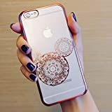 iPhone 8 / 7 Compatible, Rose Gold Shiny Mouse Inspired Mandala Zen Tangle Cartoon Pattern Rubber Slim Fit Silicone TPU Cover Case