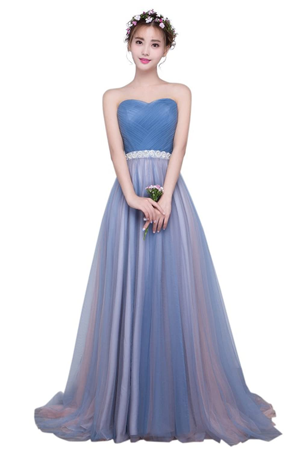 Drasawee Women's Strapless Empire Prom Party Wedding Dress Elegant Rhinestone Long Evening Formal Gowns UK14