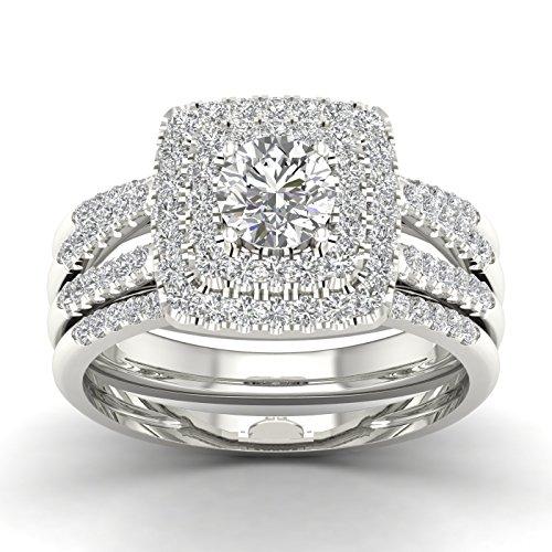 - Fehu Jewel 0.87ct Natural Diamond 14k Gold Wedding Diamond Trio Ring Set for Women (White-Gold, 8)
